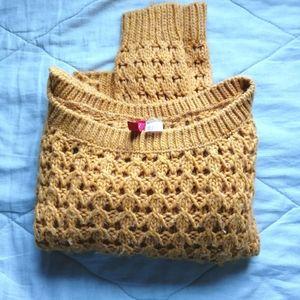 Mustard yellow crop wool blend sweater | H&M
